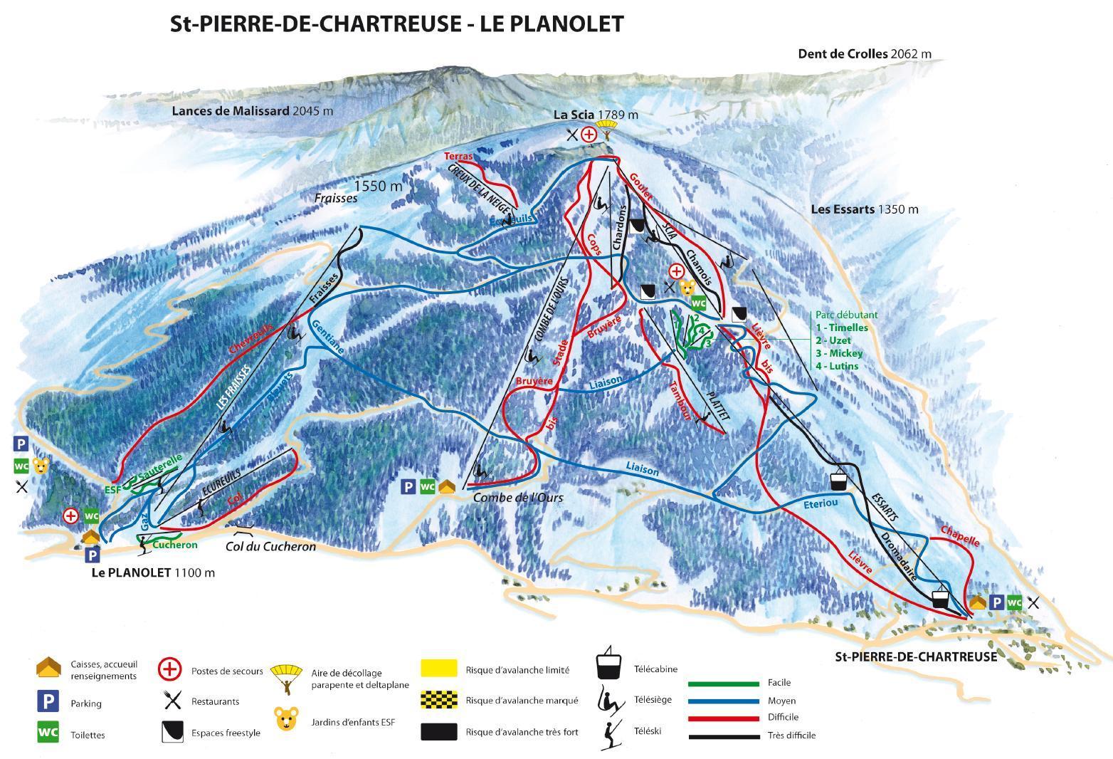 Plan des pistes Saint-Pierre de Chartreuse